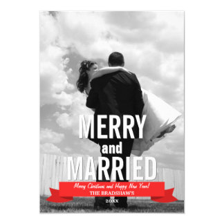 Merry and Married Modern Ribbon Holiday Photo Card Invite