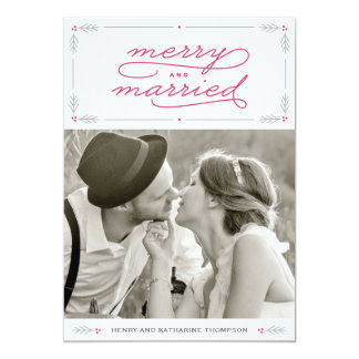 Merry and Married Newlywed Holiday Photo Card 13 Cm X 18 Cm Invitation Card