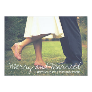 Merry And Married Script First Christmas Photo 13 Cm X 18 Cm Invitation Card