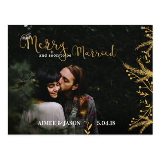 Merry and Soon to be Married Christmas Postcard
