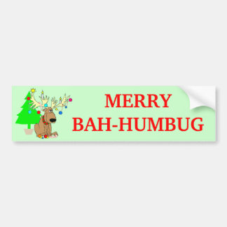 Merry Bah Humbug Reindeer Funny Christmas Bumper Stickers
