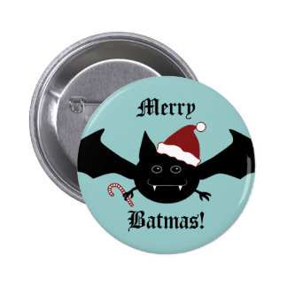 Merry Batmas silly gothic bat Pinback Buttons