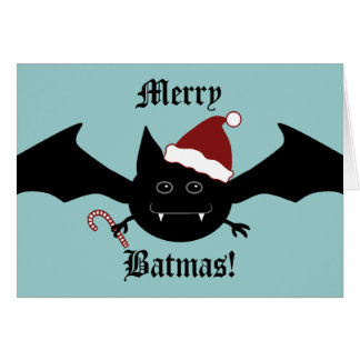 Merry Batmas silly gothic bat Greeting Card