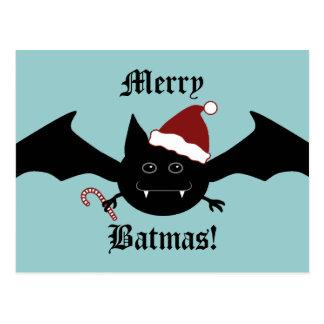 Merry Batmas silly gothic bat Postcard
