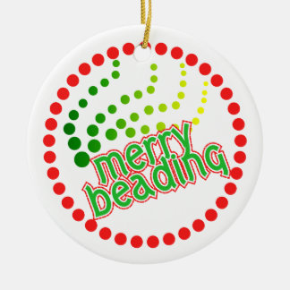 Merry Beading - front and back Round Ceramic Decoration