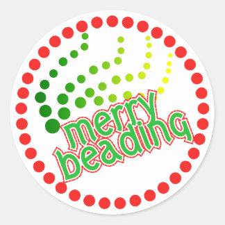 Merry Beading Round Sticker