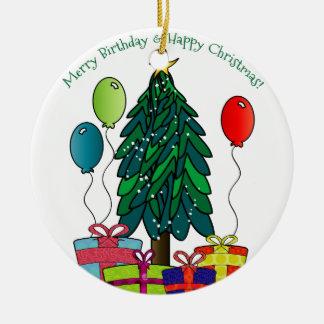 Merry Birthday, Happy Christmas! Christmas Ornament