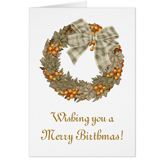 Merry Birthmas Birthday Christmas combined Card