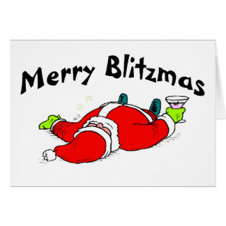 Merry Blitzmas Drunk Santa Card
