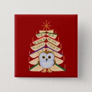 Merry Bookmas 15 Cm Square Badge