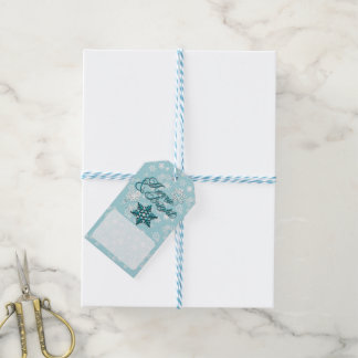 Merry & Bright • 6-Point Snowflake • Teal & White Gift Tags