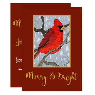 Merry & Bright Cardinal in the Snow Holiday Card