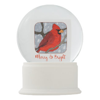 Merry & Bright Cardinal in the Snow Holiday Snow Globe