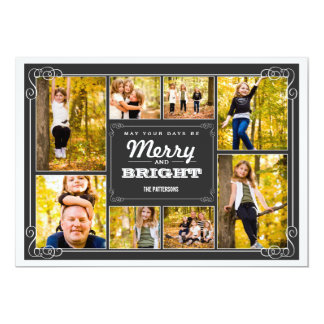 Merry & Bright Chalkboard Collage Photo Card