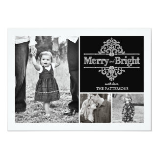 Merry & Bright Chalkboard Holiday 3 Photo Card