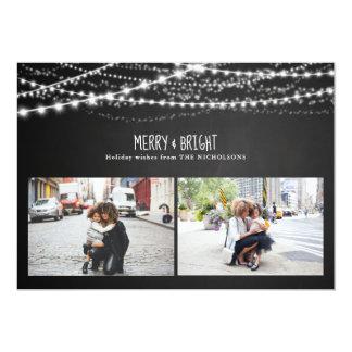 Merry & Bright | Chalkboard String Lights Photo Card