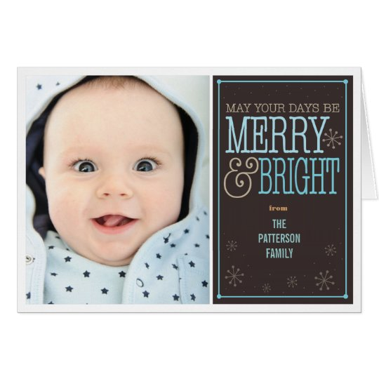 Merry & Bright Christmas 2 Photo Greeting Card