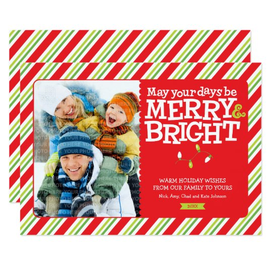 Merry & Bright Christmas Lights and Stripes Photo Card