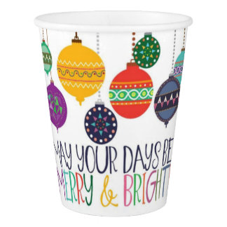 Merry & Bright Christmas Paper Cups
