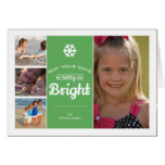 Merry Bright Christmas Photo Collage Holiday Green Greeting Card