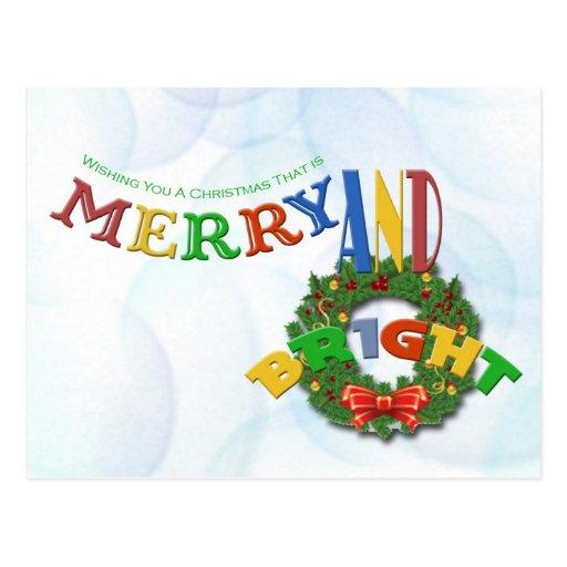 Merry & Bright Christmas Postcard
