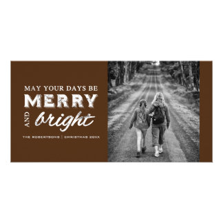 Merry & Bright - Christmas Rustic Brown Card