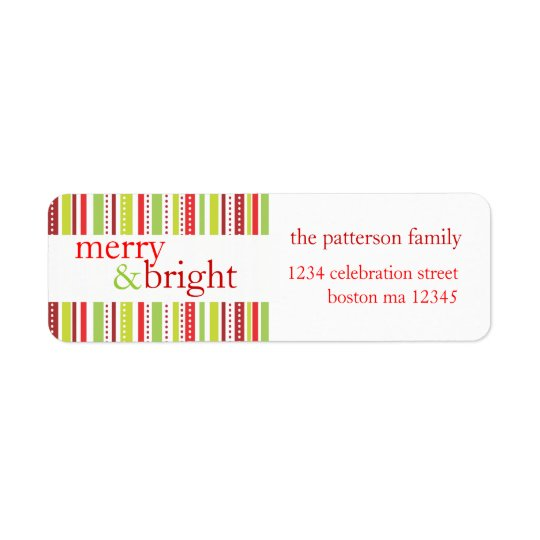 Merry & Bright Christmas Stripes Holiday Label Return Address Label