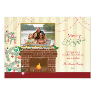 Merry Bright Christmas tree fireplace photo card