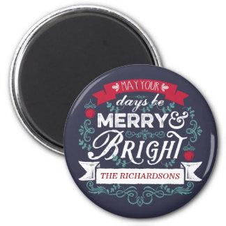 Merry & Bright Christmas Typography Custom Banner 6 Cm Round Magnet