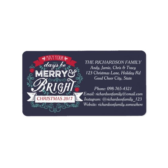 Merry & Bright Christmas Typography Custom Banner Address Label