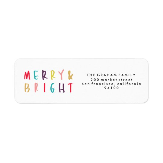 Merry & Bright Colourful Return Address Stamps