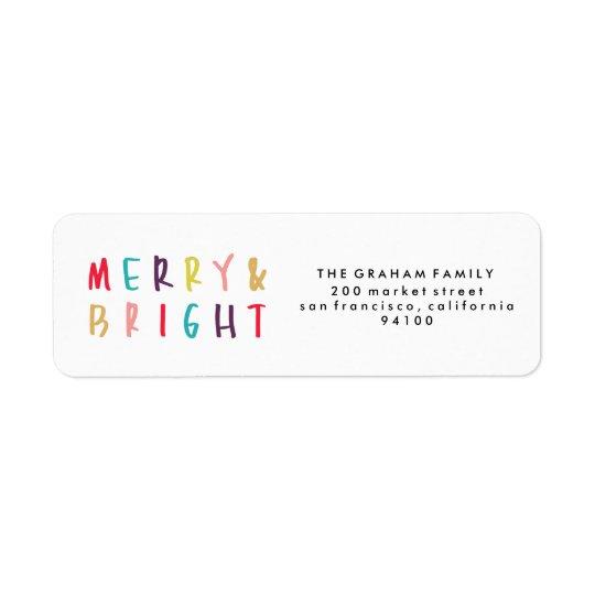 Merry & Bright Colourful Return Address Stamps Return Address Label