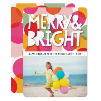 Merry & Bright Confetti Dots Holiday Photo Card