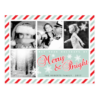 Merry & Bright Custom Photo Christmas Postcard