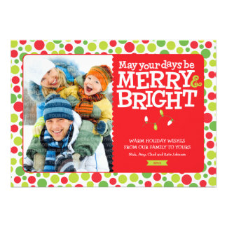 Merry Bright Dots Red Green Holiday Photo Cards