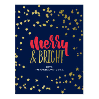 Merry & Bright   Faux Gold Stars Postcard