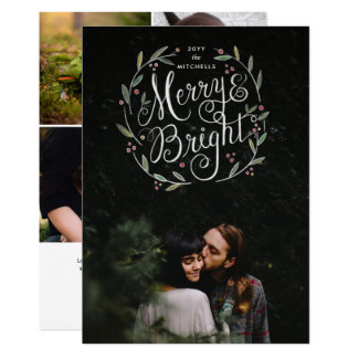 Merry & Bright Hand Lettered Wreath Holiday Photo Card