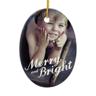 Merry & Bright Happy Christmas Photo Ornament