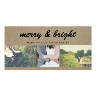 Merry & Bright Kraft Paper Three Photo Collage Photo Card Template