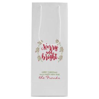 Merry & Bright Mistletoe Christmas Wine Gift Bag