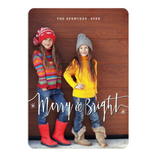 Merry & Bright Modern Snowflake Photo Card