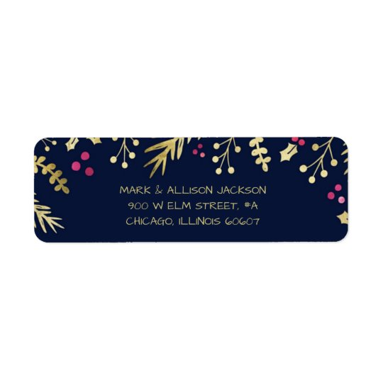 Merry & Bright Navy Holiday Christmas Labels