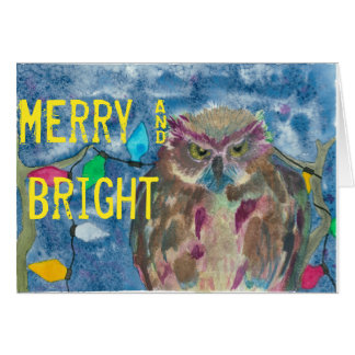 Merry & Bright Owl Card