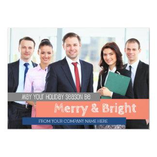 Merry & Bright Photo Card Business Coral Blue 13 Cm X 18 Cm Invitation Card