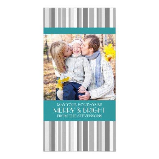 Merry & Bright Photo Card Modern Teal Gray Stripe