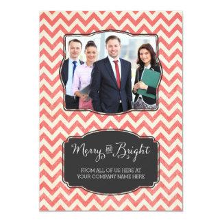 Merry & Bright Photo Cards Business Red Chevron 13 Cm X 18 Cm Invitation Card