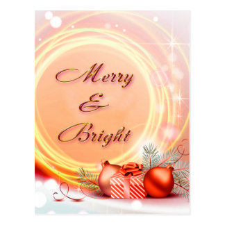 Merry & Bright Red Yellow Festive Christmas Postcard