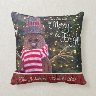 """""""Merry & Bright"""" Rustic Log Snowman Add Your Name Cushion"""