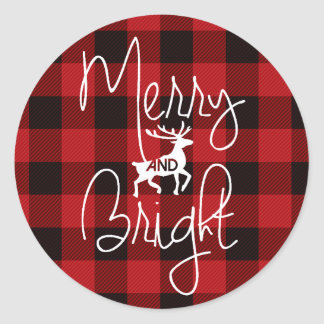 Merry & Bright | Rustic Plaid Classic Round Sticker