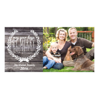 Merry & Bright Rustic Wood Photo Card
